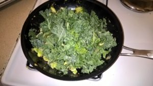 Veggies with kale on top